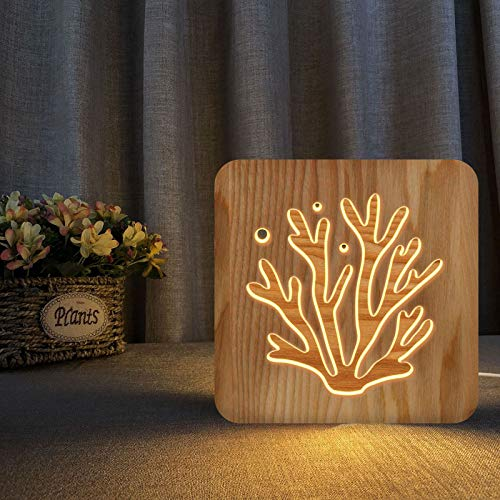 Creative 3D Plant Wooden Lamp Bedside Lamp Desk Lamp Wooden Carved Hollow 3D Wooden Night Lamp Home Decor Lamp, G