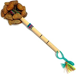 Handmade Peruvian Cacho Seed Pod Shell Nut Shaker Wooden Bamboo Handle Stick with Strap Rattle Maraca Percussion Musical Instrument