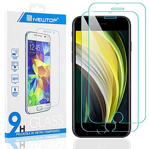 N NEWTOP [2 Pezzi] Pellicola Compatibile con iPhone 7-8-SE 2020, GLASS FILM 0.3mm 9H Vetro Temperato Proteggi Schermo Display Anti Urto Graffio Protettiva