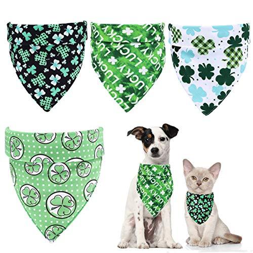 Beiabang 4 Pieces Dog Bandanas St.Patrick's Day Dog Bandanas Shamrock Dog Scarf Pet Puppy Dog Bib for St.Patrick's Day Pet Dog Cat Costume
