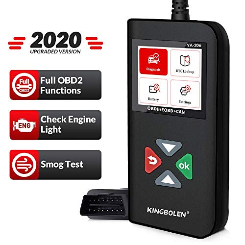 KINGBOLEN OBD2 Scanner YA-206 Code Reader Car Engine Scan Tool with Full OBD2 Functions Read and Clear DTCs for MIL Turn-Off Check Engine Light,Car Code Scanner for O2 Sensor and Smog Test