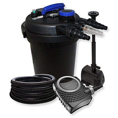 Kit de Filtration à Pression avec 10000l Filter, UV 11W, 70W Pompe, Tuyau et Pompe de Fontaine