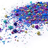 Royal Plume  Rich Blue Purple Aqua Pink Gold Ice cream Peacock Colorful Candy Sprinkles Mix For Baking Edible Cake Decorations Cupcake Toppers Cookie Decorating Ice Cream Toppings, 4OZ