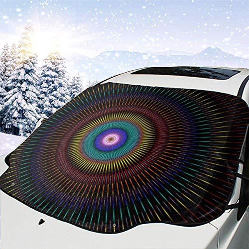 GOSMAO Lona de Nieve, Protector de Parasol para Coche, Tela de araña púrpura Telaraña de Textura extraña Patrón de Halloween Protector de Escarcha Visera de Resistencia al Calor 147x118cm