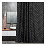 Aimjerry Waterproof Fabric Shower Curtain Polyester Striped Black 72' x 72' Geometric Pattern,Washable Curtain…