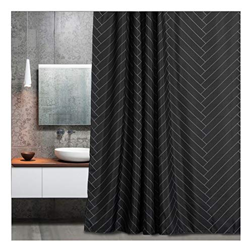 Aimjerry Waterproof Fabric Shower Curtain Polyester Striped Black 72' x 72' Geometric Pattern,Washable Curtain