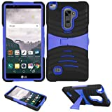 Phone Case for Straight Talk LG Stylo 2 4g LTE (Boost Mobile) / Verizon LG Stylo-2-V Rugged Heavy Duty Armor Cover Stand (Armor Black Skin-Blue Stand)