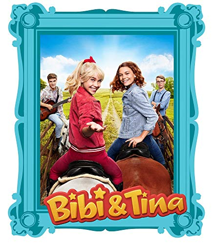 Wandtattoo Bibi und Tina - in verschiedenen Motiven und Größen erhältlich - Made in Germany - TV-Serie Pferde Amadeus Sabrina Martinshof Mädchen Kinderzimmer (47cm x 39cm, blauer Rahmen)