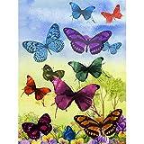 UMP Upmall Kit de peinture diamant 5D par numéro pour adultes, kit de broderie de diamant pour décoration murale Motif papillons colorés 30 x 39,9 cm