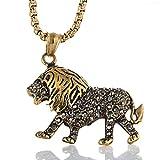 Diaosi - Colgante con forma de león de diamante negro, acero de titanio/horno chapado al vacío,...