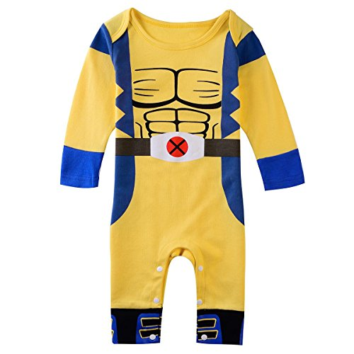 Wolverine X-Men Superhero Comic Tutina Bambino Costume del partito/travestimento/Play Outfit giallo Yellow Blue 18 - 24 mesi