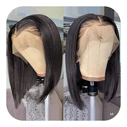 PJPPJH Perruques pour Femmes Perruque de Cheveux Humains en Queue de Cochon, Perruque Droite Courte Bob Avant de Dentelle 13x4 Avant de Lacet de Cheveux Humains pré-plumée