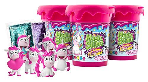 CRAZE pink rosa Magic Slime Unicorn magischer Schleim für Kinder 3X 150g Dose inkl. Einhorn Figur 3er Set 17234, 17234-450g