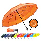 HOSA Auto Open Close Compact Portable Lightweight Travel | Night Safety Reflective Strip | Windproof Waterproof UV Protection Umbrella | for Raining Sunny Days Night Time Use (Orange 42-inch)