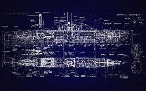 Das Museum Ausgang Charts–U Boot Typ XXI–A3Poster Druck