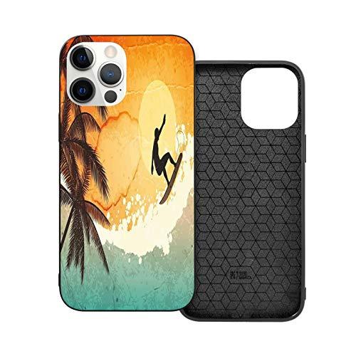 Compatible con iPhone 12 / iPhone 12 Pro, funda de TPU antideslizante para iPhone 12 / iPhone 12 Pro, Retro Tropical Island Surfer Draw