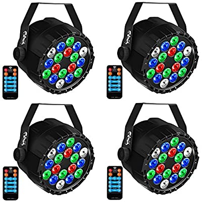 DJ Lights CrtWorld Mini RGBW 18 LED Stage Lights By Remoter And DMX Control For Christmas Wedding Parties (4 Pack)