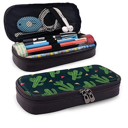 Lawenp Cute Cactus Leather Pencil Case for School Students Office Pen Pencils Box