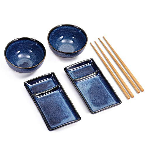 Urban Lifestyle Misaki Navy Blue Sushi Set for Two - 2 Sushi Plates, 2 Ceramic Bowls, 2 Pairs of Bamboo Chopsticks
