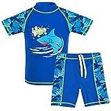 TFJH E Teen Boys Two Piece Swimsuit UPF 50+ Short Sleeve Beachwear Navy Short 140/146