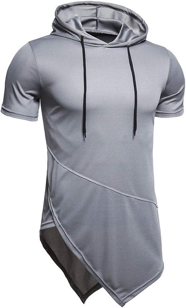 Holzkary Mens Slim Lightweight Drawstring Hoodie Zipper Short Sleeve T-Shirt with Asymmetrical Hem