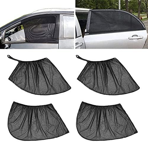 FINIMY Auto Seitenfenster Sonnenschirm, 4 Stück Universal Sonnenblende Auto Netz mit UV Schutz/Blendschutz, Meshmaterial Sonnenschutz Sonnenschirm,für die meisten Autos