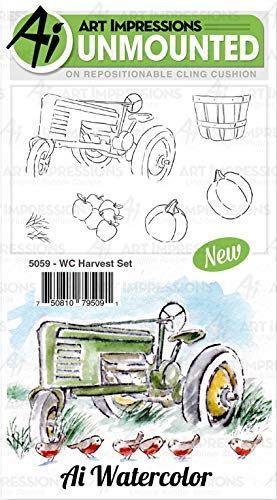 Art Impressions Watercolor Cling Rubber Stamps-Harvest