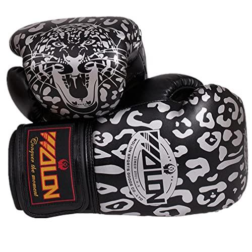 zeenca Boxhandschuhe,Muay Thai, Männer und Frauen, Anzug für MMA Boxing Sparring TrainingBoxen Leopard Erwachsene Handschuhe EIN Paar-Walong Leopard Black._10 Unzen