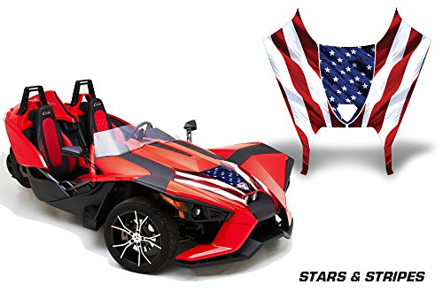 AMR Racing Roadster Graphics kit Sticker Decal Compatible with Polaris Slingshot SL 2015-2016 Vinyl Wrap Hood kit - Stars and Stripes