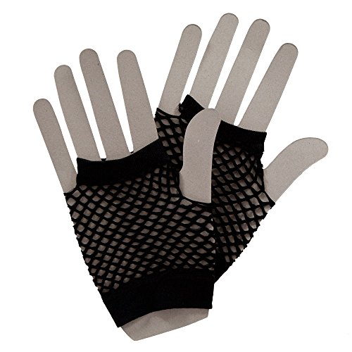80's Net Gloves - Neon BLACK Fancy Dress Accessory