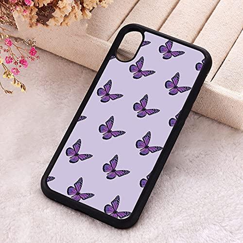 KESHOUJI para iPhone 5 5S SE 2020 Fundas de teléfono para iPhone 6 6S 7 8 Plus X XS XR 11 12 Mini Pro MAX Soft Silicone TPU Purple Mariposas, para iPhone 8 Plus