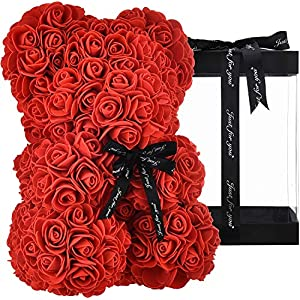 Silk Flower Arrangements Rose Bear Hand Made Teddy Bear Flower Bear Rose - Gift for Mothers Day, Girlfriend Luxury Rose, Valentines Day, Anniversary & Bridal Showers Weddings with Gift Box, 10 inch