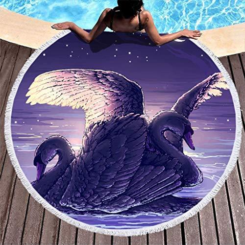 Gamoii - Toalla de playa redonda con diseño de luna y cisne para picnic, para la playa, rizo, muy suave, con borla para niños, para la playa, vacaciones, viajes, poliéster, blanco, 150 cm