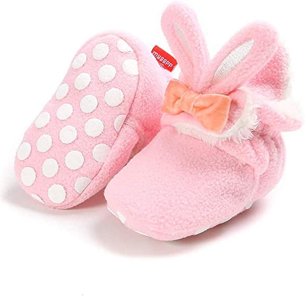 Unisex Newborn Baby Cotton Cozy Fleece Booties Non-Slip Sole for Toddler Boys Girls Infant Winter Warm Fleece Socks First Walker Crib Shoes (D- Rabbit Pink