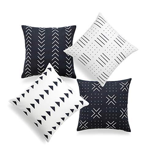 Hofdeco African Mudcloth Cushion Cover ONLY, Black and White, 45cmx45cm, Set of 4