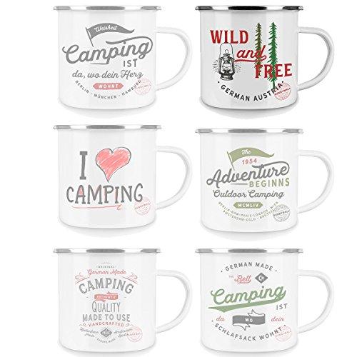 Sunnywall Emaille Tasse - Kaffee Becher - Tasse weiß/Silver Retro – Vintage robust – 300 ml – für Retro-Küche, Picknick, Outdoor, Camping – Becher emailliert (wild and Free   92-emaille)