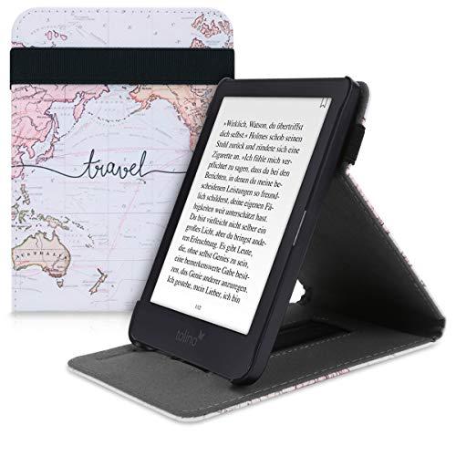kwmobile Hülle kompatibel mit Tolino Shine 3 - Schlaufe Ständer - e-Reader Schutzhülle - Travel Schriftzug Schwarz Mehrfarbig