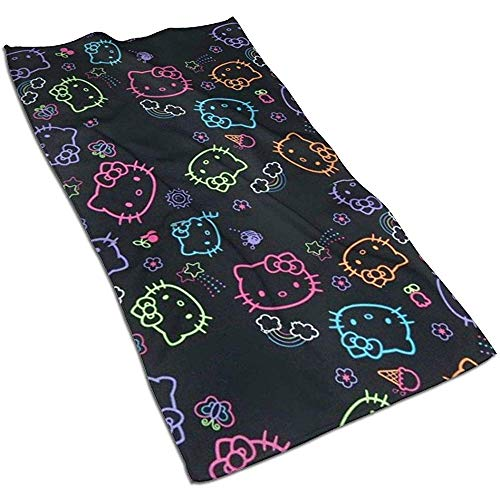 Zwart Hello Kitty Soft Super Absorbent sneldrogende handdoek badhanddoek strandlaken - 27,5 x 17,5 inch