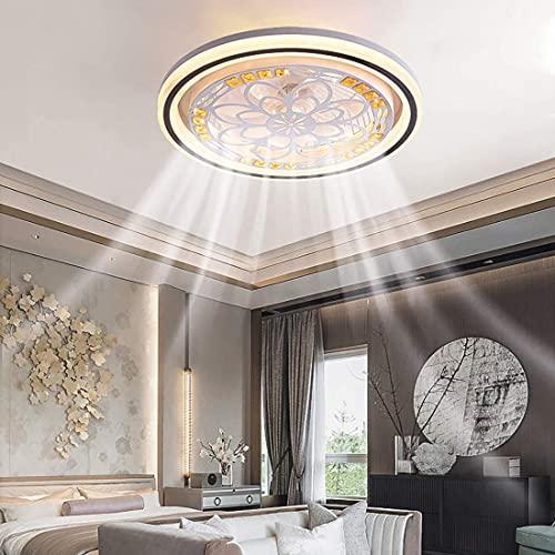 DULG Ventilador de Techo LED con luz, Dormitorio, Ventilador silencioso, luz de Techo con lámpara remota, Temporizador Regulable Moderno, Ventilador de Techo, luz de 3 velocidades para Sala de Estar,