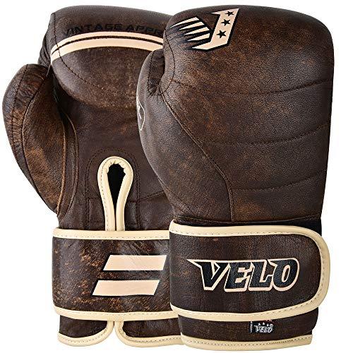 VELO Antike Leder Boxhandschuhe MMA Training Muay Thai Handschuhe Kampfkunst Kickboxen Sparring Boxsack Stanzübung für Männer und Frauen, Braun, 397 g