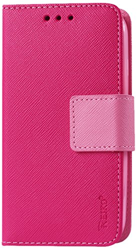 Reiko Premium Wallet Case with Stand, Flip Cover and 3 Card Holders for LG G Pro 2 VS880, LG G Vista D631 - Retail Packaging - Hot Pink