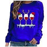 Tekaopuer Sudadera casual con estampado de Navidad para mujer, manga larga, cuello redondo, para mujer, azul, S