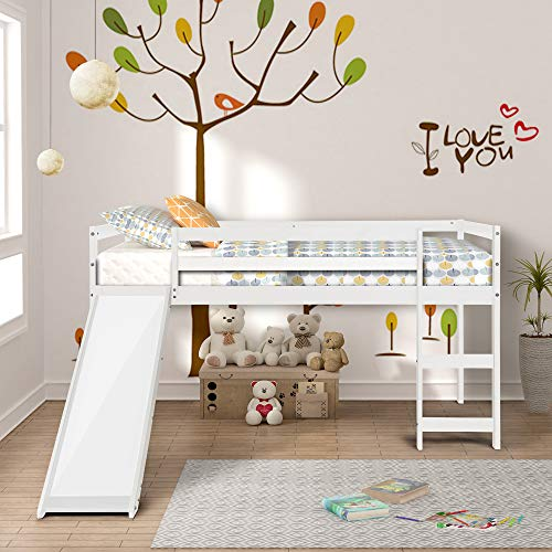 Twin Loft Bed with Slide and Ladder for Kids/Toddlers, Loft Bed, Twin Wood Kids Bed with Slide Multifunctional Design,Wood Low Profile Kids Mini Loft Bed Twin Size with Ladder (White)