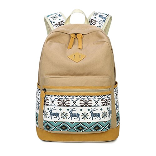 Zaino Casual Scuola Set 3pcs Daypacks/Canvas Backpack Tela Zaini Ragazza/Donna+ Messenger Bag + Purse-Khaki (1pcs)