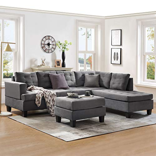 Sectional Sofa with Chaise Lounge and Ottoman 3-Seat Sofas Couch Set for Living Room (Gray)
