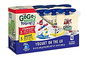 GoGo SqueeZ YogurtZ on the Go, Variety Pack (Strawberry/Banana), 3.2 Ounce Portable BPA-Free Pouches