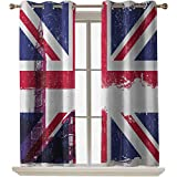 ScottDecor Union Jack Bedroom Curtains Grungy Aged UK Flag Big Ben Double Decker Country Culture Historical Landmark 52x63 Inch Windows Curtains for Kids Baby Nursery