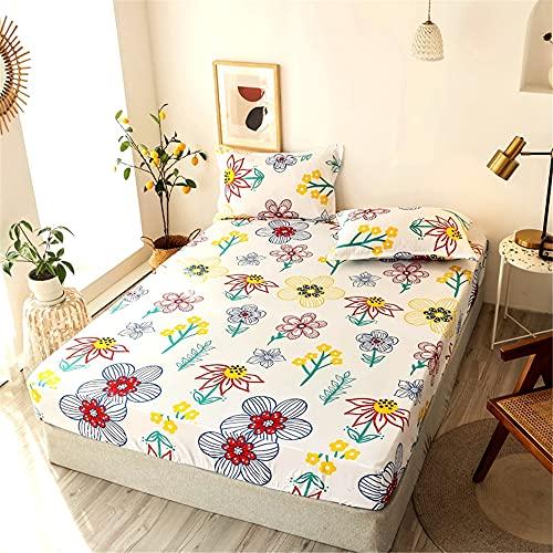 Acogedor Soltero/Reina/King Tamaño Patrón de Plumas Cubierta de colchón con sábanas con pillowcasas para Cama Doble 3 PCS Hoja de Cama Ajustada para Hotel en casa