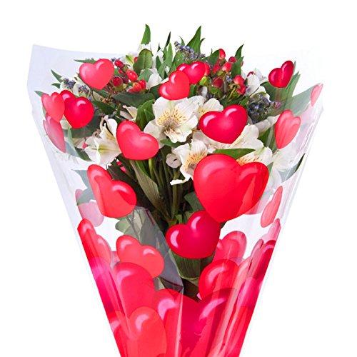"Heart Print Cut Flower Bouquet Sleeves - Measure 13"" Diameter x 19.75"" Tall x 4"" at The Bottom"
