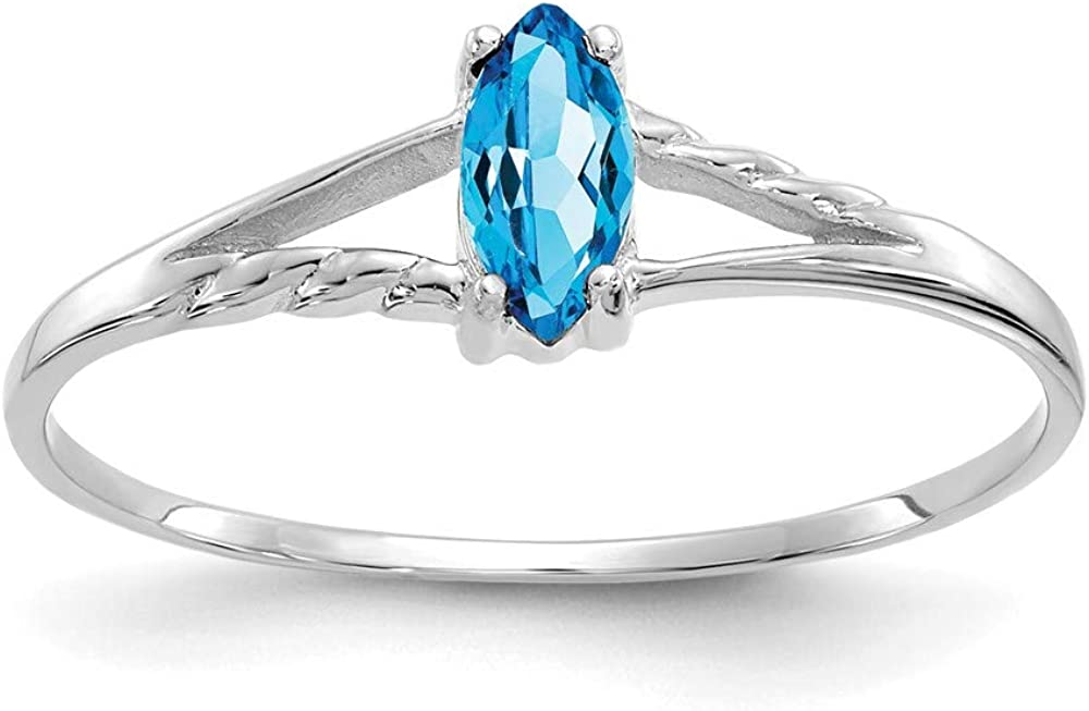 10k White Gold Blue Topaz Birthstone Band Ring Size 6.00 Stone December Marquise Fine Jewelry For Women Gifts For Her
